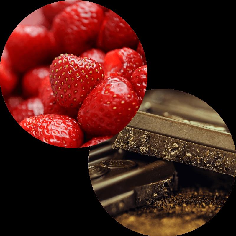 Pączek z truskawką i czekoladą