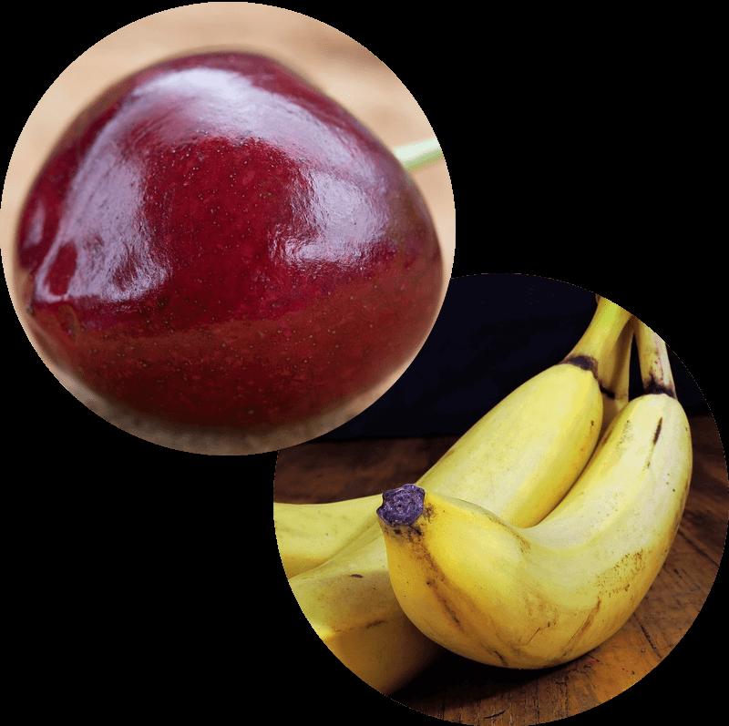Pączek z wiśnia i bananem